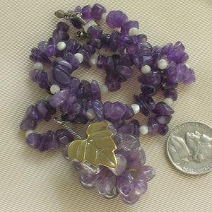 Vintage Amethyst Gemstone Bead Grapevine Necklace